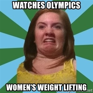 Disgusted Ginger - watches olympics women's weight lifting