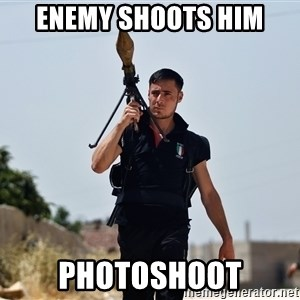 Ridiculously Photogenic Syrian Rebel Fighter - Enemy Shoots him photoshoot