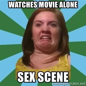 Disgusted Ginger - watches movie alone sex scene