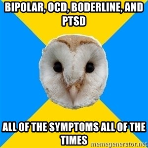 Bipolar Owl - Bipolar, ocd, boderline, and ptsd all of the symptoms all of the times