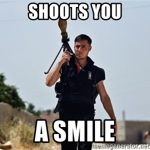 Ridiculously Photogenic Syrian Rebel Fighter - Shoots you a smile