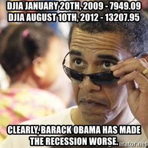 Obamawtf - DJIA January 20th, 2009 - 7949.09 DJIA August 10th, 2012 - 13207.95  Clearly, Barack Obama has made the recession worse.