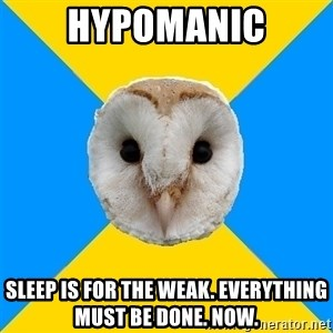 Bipolar Owl - HYPOMANIC SLEEP IS FOR THE WEAK. EVERYTHING MUST BE DONE. NOW.