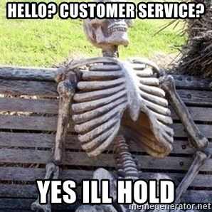 Waiting Skeleton - hello? Customer service? yes ill hold