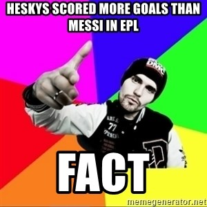 noizemc - HESKYS SCORED MORE GOALS THAN MESSI IN EPL FACT