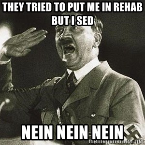 Adolf Hitler - they tried to put me in rehab but i sed  nein nein nein