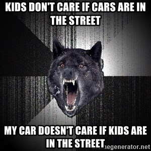 flniuydl - Kids don't care if cars are in the street my car doesn't care if kids are in the street