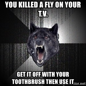 Insanity Wolf - you killed a fly on your T.v. get it off with your toothbrush then use it