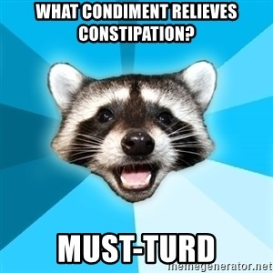 Lame Pun Coon - What condiment relieves constipation? must-turd