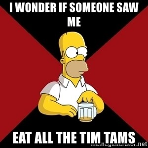 Homer Jay Simpson - I WONDER IF SOMEONE SAW ME EAT ALL THE TIM TAMS