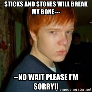 Flame_haired_Poser - STICKS AND STONES WILL BREAK MY BONE--- --no wait please I'm sorry!!