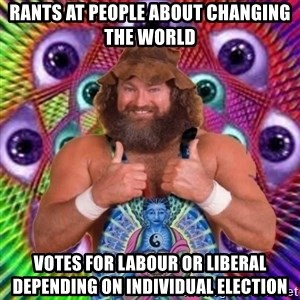 PSYLOL - rants at people about changing the world votes for labour or liberal depending on individual election