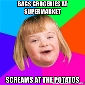 I can count to potato - bags groceries at supermarket screams at the potatos