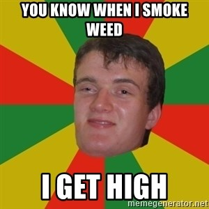 stoner dude - YOU KNOW WHEN I SMOKE WEED I GET HIGH