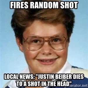 "Larry el suertudo - Fires random shot local news: ""Justin beiber dies to a shot in the head"""