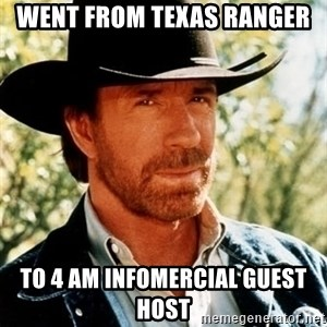 Brutal Chuck Norris - went from texas ranger to 4 AM infomercial guest host