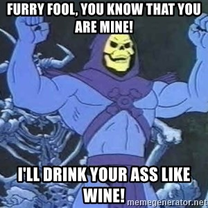 Skeletor - FURRY FOOL, YOU KNOW THAT YOU ARE MINE! I'LL DRINK YOUR ASS LIKE WINE!