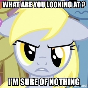 Derpy Hooves - what are you looking at ? i'm sure of nothing