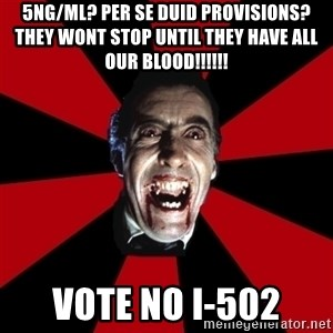 Vampire - 5ng/ml? Per se duid provisions? They wont stop until they have all our blood!!!!!! vote no i-502