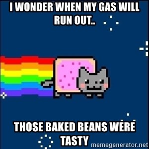 Irresponsible Nyan Cat - I WONDER WHEN MY GAS WILL RUN OUT.. THOSE BAKED BEANS WERE TASTY