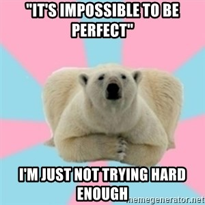 "Perfection Polar Bear - ""It's impossible to be perfect"" I'm just not trying hard enough"