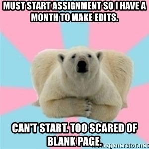 Perfection Polar Bear - must start assignment so i have a month to make edits. can't start. too scared of blank page.
