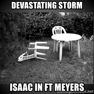 Chair Blown Over - Devastating Storm Isaac in Ft Meyers