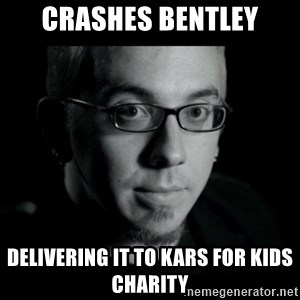 Good Guy Jon Jones - crashes bentley delivering it to kars for kids charity
