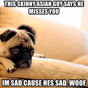 Sorrowful Pug - This skinny asian guy says he misses you im sad cause hes sad, woof