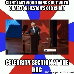 Invisible Obama - clint eastwood hangs out with charlton heston's old chair celebrity section at the rnc