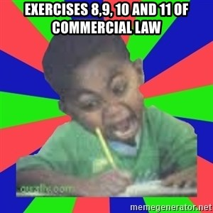 Exam Kid - exercises 8,9, 10 and 11 of commercial law