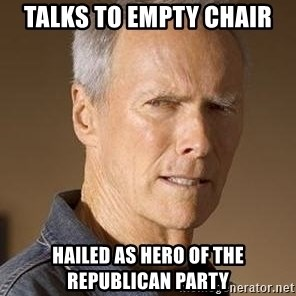 Clint Eastwood - talks to empty chair hailed as hero of the republican party
