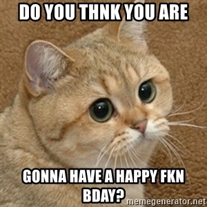 motherfucking game cat - Do you thNk you are gonna have a Happy fkn bday?