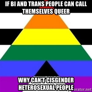 Bad Straight Ally - If bi and trans people can call themselves queer why can't cisgender heterosexual people