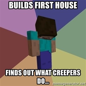 Depressed Minecraft Guy - BUILDS FIRST HOUSE FINDS OUT WHAT CREEPERS DO...