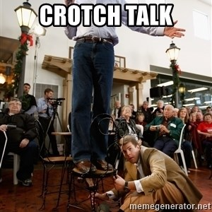 Romney Chairholder Guy - crotch talk
