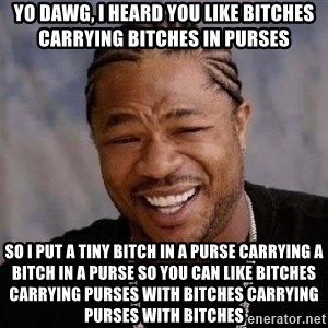 Yo Dawg - YO DAWG, I HEARD YOU LIKE BITCHES CARRYING BITCHES IN PURSES SO I PUT A TINY BITCH IN A PURSE CARRYING A BITCH IN A PURSE SO YOU CAN LIKE BITCHES CARRYING PURSES WITH BITCHES CARRYING PURSES WITH BITCHES