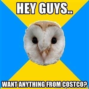 Bipolar Owl - hey guys..  want anything from costco?
