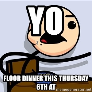 Kid Eating Cereal - yo  floor Dinner This Thursday 6th at