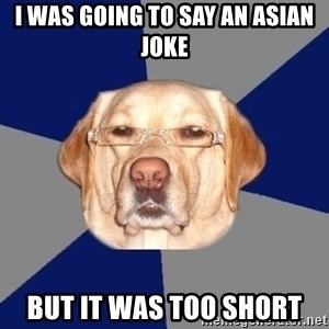 Racist Dawg - I was going to say an asian joke but it was too short