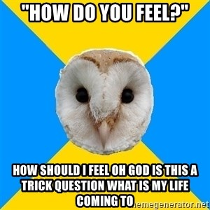 """Bipolar Owl - """"how do you feel?"""" how should i feel oh god is this a trick question what is my life coming to"""