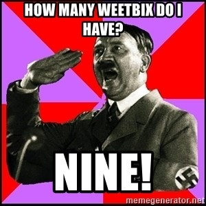 High five Girl - How many weetbix do i have? Nine!