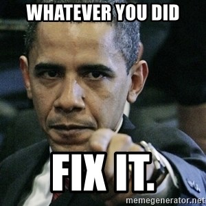 Pissed off Obama - WHATEVER YOU DID FIX IT.