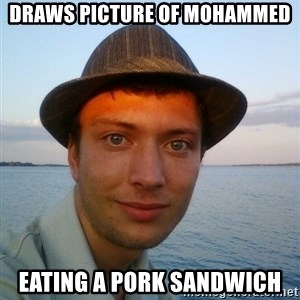 Beta Tom - draws picture of mohammed eating a pork sandwich