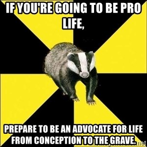 PuffBadger - IF YOU'RE GOING TO BE PRO LIFE, prepare to be an advocate for life from conception to the grave.