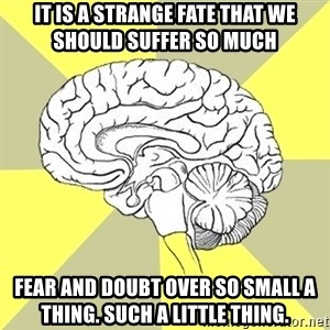 Traitor Brain - it is a strange fate that we should suffer so much Fear and doubt over so small a thing. such a little thing.