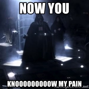 Darth Vader - Nooooooo - now you  knooooooooow my pain