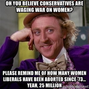 Willy Wonka - oh you believe conservatives are waging war on women? please remind me of how many women liberals have been aborted since '73... yeah, 25 million