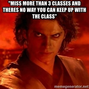 """Anakindarthvader3revengeofthesith - """"Miss more than 3 classes and theres no way you can keep up with the class"""""""