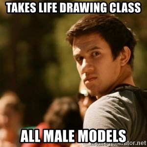 Disturbed David - takes life drawing class all male models